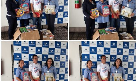Entrega dos livros na Fundação Antônio Jorge Dino